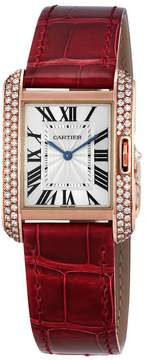 Cartier Tank Anglaise Silvered Flinque Dial Watch