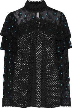 Anna Sui Embroidered Tulle-Paneled Open-Knit Blouse