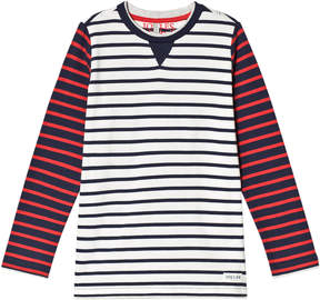 Joules Cream Navy and Red Stripe Long Sleeve Jersey T-Shirt