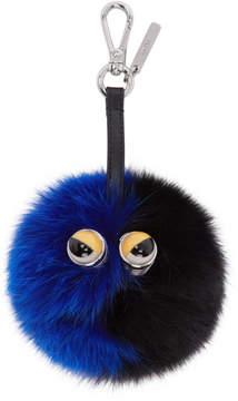 Fendi Black and Blue Fur Pom Pom Keychain
