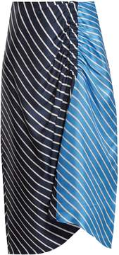 Tibi Delphina striped high-rise midi skirt