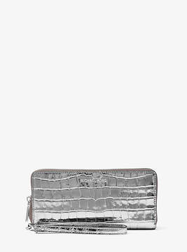 Michael Kors Jet Set Travel Metallic Embossed-Leather Continental Wristlet - GUNMETAL - STYLE