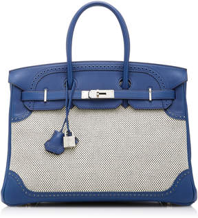 Hermes Vintage by Heritage Auctions 35cm Blue Saphir and Toile Swift Leather and Toile Ghilles Birkin