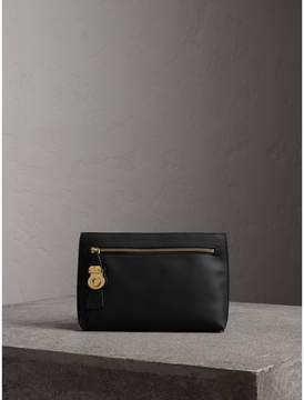 Burberry Trench Leather Wristlet Pouch - BLACK - STYLE