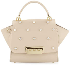 Zac Posen Eartha Pearly Leather Crossbody Bag, Sand Dollar