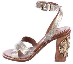 Roberto Cavalli Embossed Peep-Toe Sandals