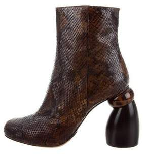 Dries Van Noten Python Round-Toe Ankle Boots w/ Tags