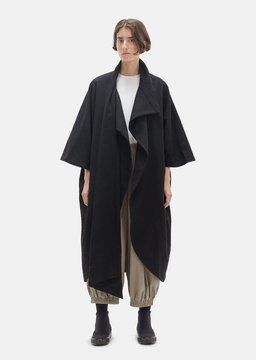 Black Crane Wool Cape Coat Black Size: One Size