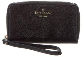 Kate Spade Leather Logo Wristlet - BLACK - STYLE