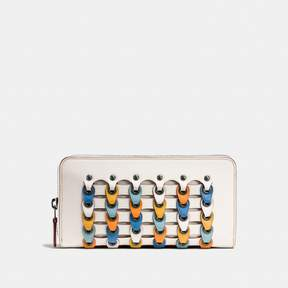 COACH Coach Accordion Zip Wallet With Colorblock Link - BLACK COPPER/CHALK MULTI - STYLE