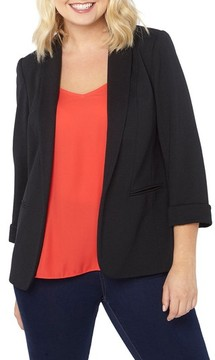 Evans Plus Size Women's Ribbed Knit Blazer