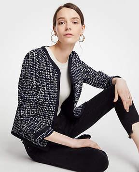 Ann Taylor Tipped Tweed Jacket