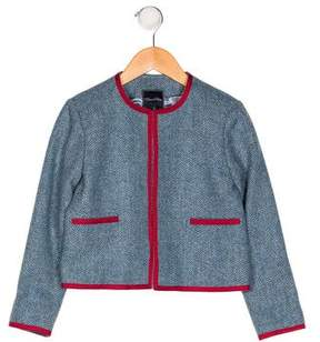 Oscar de la Renta Girls' Wool Herringbone Blazer