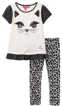 Betsey Johnson Cat Face Top & Allover Print Legging Set (Toddler Girls)