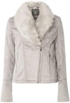 Dorothy Perkins **Tall Grey Suedette Faux Fur Collar Biker Jacket