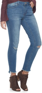 Almost Famous Juniors' Fray Hem Ripped Skinny Jeans