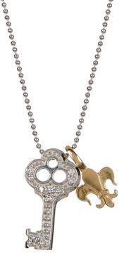 Alex Woo 14K White Gold Little Luck Diamond Key Pendant Necklace - 0.06 ctw