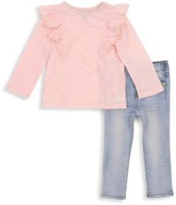 7 For All Mankind Baby's & Toddler's Two-Piece Ruffle Top and Skinny Jeans Set
