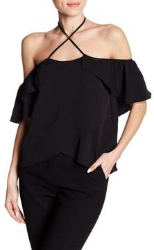 Dee Elly Cold Shoulder Ruffle Blouse
