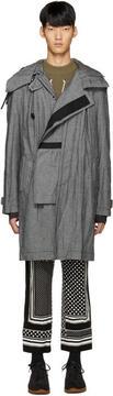 Sacai Grey Canvas Hooded Coat