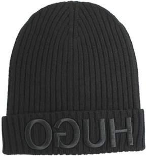 HUGO BOSS Men-X-537 Reverse Logo Wool Beanie Hat (One Size Fits Most)