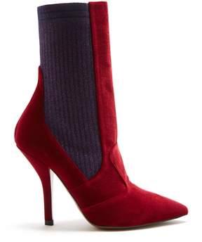 Fendi Contrast-panel point-toe sock boots