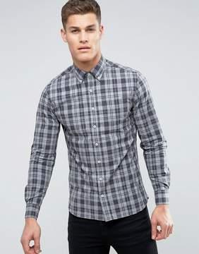 MANGO Man Regular Fit Check Shirt In Gray And Black