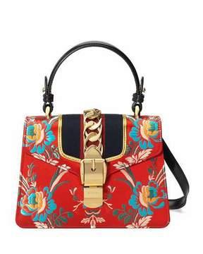 Gucci Sylvie Mini Brocade Top-Handle Bag - RED - STYLE
