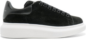 Alexander McQueen Leather-trimmed Velvet Exaggerated-sole Sneakers - Black