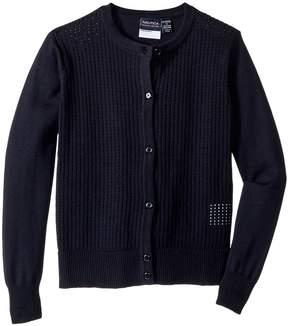 Nautica Pointelle Cardigan Girl's Sweater