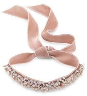 Fallon Monarch Bardot Faux-Pearl Velvet Wrap Choker