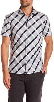 Perry Ellis Shirt Sleeve Cross Line Print