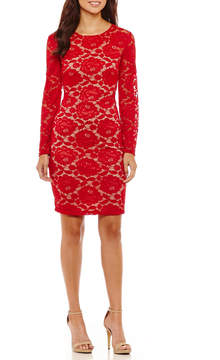 Bisou Bisou Long Sleeve Lace Floral Bodycon Dress