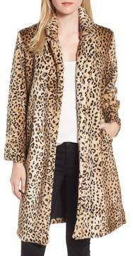 Chelsea28 Women's Leopard Print Faux Fur Jacket