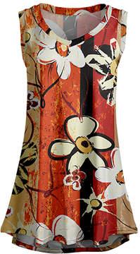Lily Cream & Orange Floral Sleeveless Tunic - Women & Plus