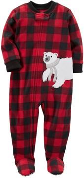 Carter's Toddler Boy Polar Bear Buffalo Plaid Fleece Footed Pajamas