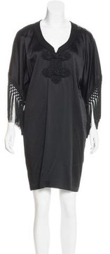 Andrew Gn Fringe-Accented Shift Dress w/ Tags