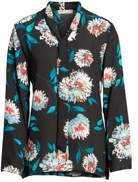 Chaus Blossom Tie Neck Blouse
