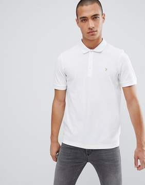 Farah Blaney Pique Polo Slim Fit in White
