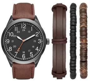 Merona Men's Full Arabic Strap Watch with Three Bracelet Accessories Gift Set Gunmetal/Brown