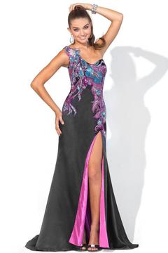 Blush Lingerie One Shoulder Embellished Long Dress with Slit 9356