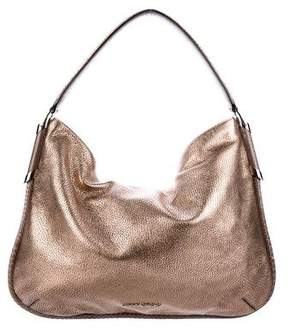 Jimmy Choo Snakeskin-Trimmed Leather Hobo