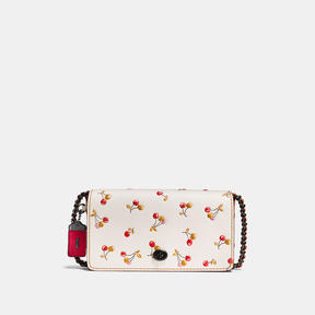 COACH Coach Dinky In Glovetanned Leather With Cherry Print - BLACK COPPER/CHALK - STYLE
