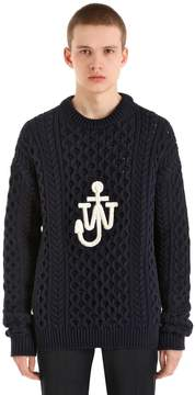 J.W.Anderson Logo Cotton Blend Cable Knit Sweater