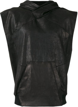 Julius sleeveless leather hoodie
