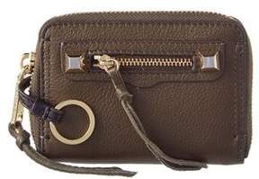Rebecca Minkoff Mini Regan Leather Zip Wallet. - OLIVE - STYLE