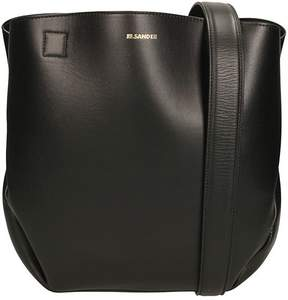 Jil Sander Black Small Tulip Leather Tote