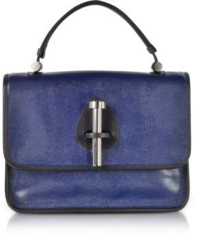 Rodo Ocean Blue Lizard Embossed Leather Satchel Bag