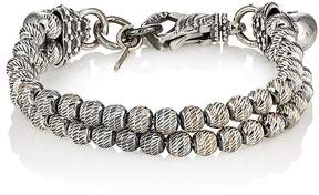 Emanuele Bicocchi Men's Sterling Silver Beaded Double-Strand Bracelet