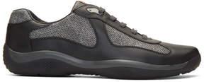 Prada Black Leather and Mesh Sneakers